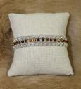 Bracelet en perles œil du tigre et tissage de perles et fermoir en argent 925